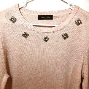 Ivanka Trump Blush Pink Jeweled Pullover Sweater L